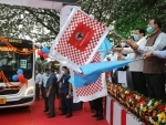 Assam CM Sonowal flags off bus services of BharatBenz of Mercedes in Guwahati