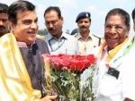 Nitin Gadkari arrives in Puducherry