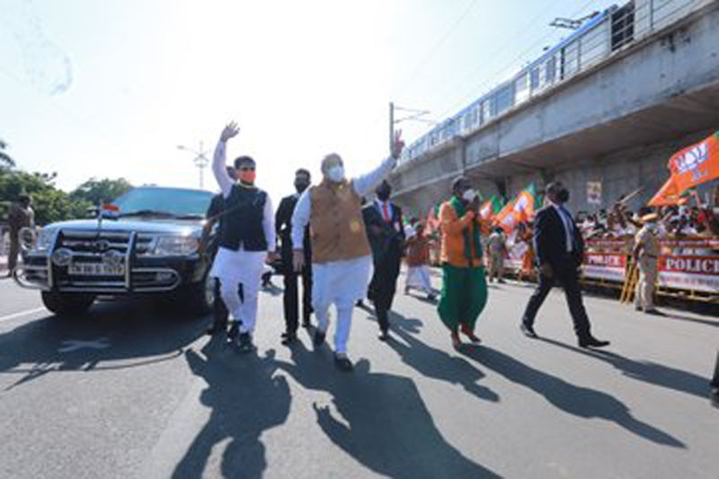 On mission Tamil Nadu, Union Home Minister Amit Shah arrives to a rousing reception