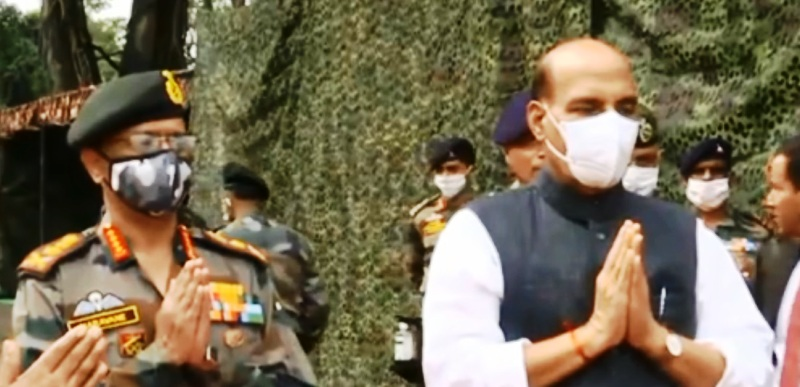 Want Indo-China border tension to end: Rajnath Singh after 'Shastra Puja'
