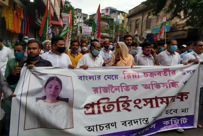 Congress holds pro-Rhea Chakraborty rally in Kolkata, alleges political vendetta against her