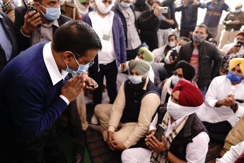 Delhi CM Arvind Kejriwal visits farmers' protest site ahead of Bharat Bandh