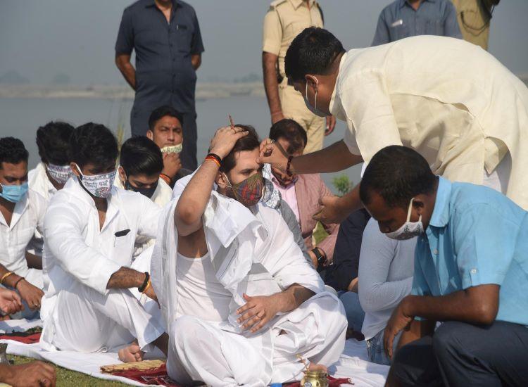 LJP Chief Chirag Paswan during Dashkarma ritual of his father late Ram Vilas Paswan in Patna