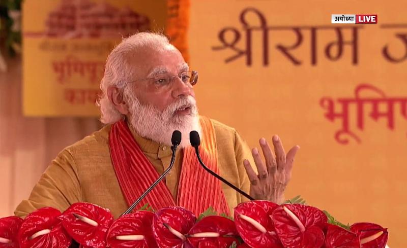 Keep six feet distance, wear mask if you respect Ram: Modi concludes Ayodhya speech with corona message