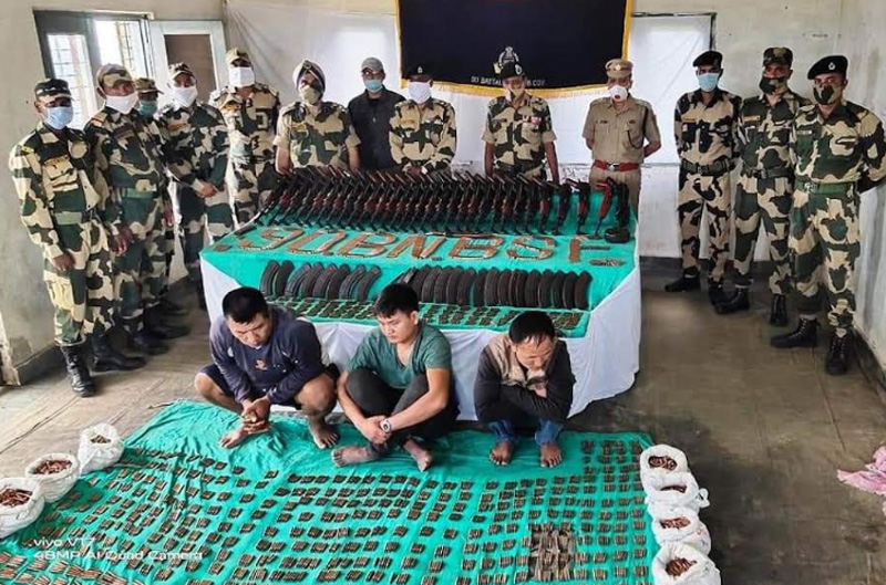 BSF officials seize large number of arms-ammunition in Mizoram's Mamit district