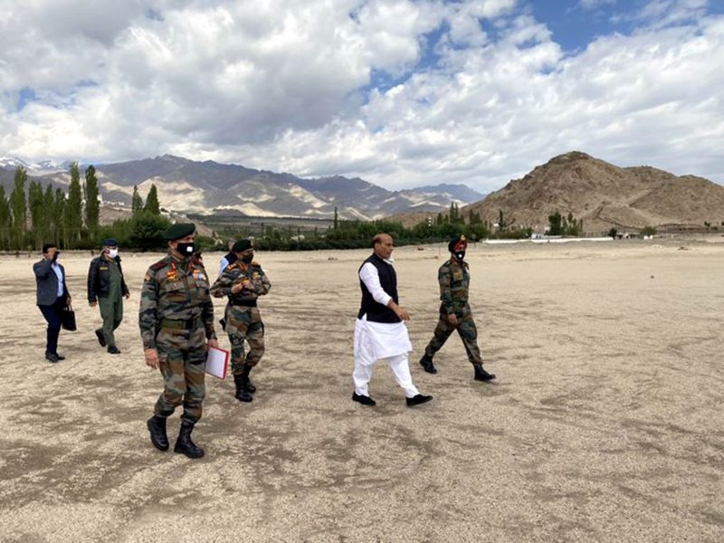Defence Minister Rajnath Singh arrives at Leh to review security situation at LAC, LoC