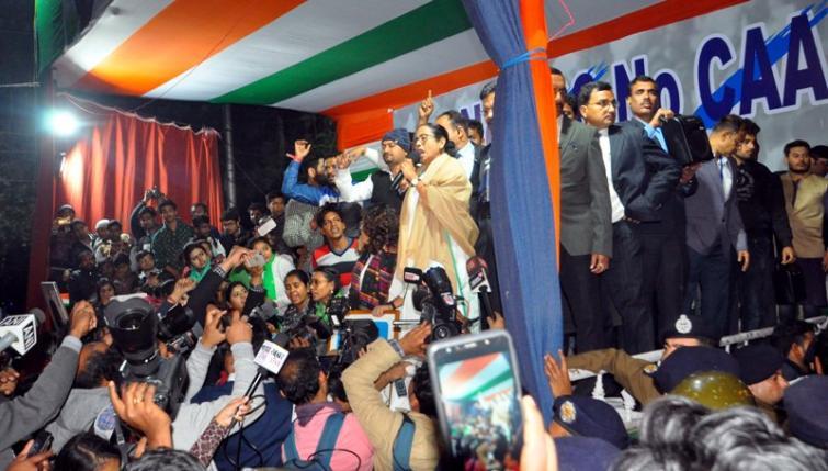 Mamata Banerjee while protesting against CAA on Jan 12
