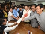 Sarbananda Sonowal files his nomination papers for Rajya Sabha bypolls in Assam