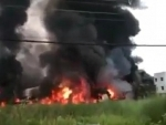 Kolkata: Massive fire breaks out at Maheshtala sanitizer factory, firefighting ops underway