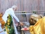 Kushinagar: PM Modi participates in event marking Abhidhamma Day at the Mahaparinirvana Temple in Kushinagar