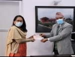 India hands over NR 306 million cheque to CEO NRA towards reconstruction of earthquake affected schools in Nepal