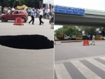 Traffic diverted after chunk of road caves in near IIT Delhi