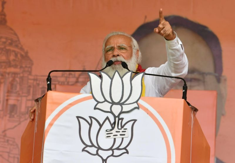 Narendra Modi at a rally during Bengal elections (Image Credit: BJP West Bengal Facebook)