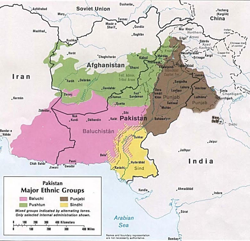 The four major ethnic groups of Pakistan in 1980/ CIA/ Wikipedia Commons