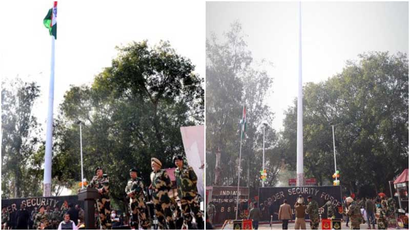 Republic Day celebration in Jammu and Kashmir: BSF unfurls 131-feet-high tricolour along the India-Pakistan border in Jammu