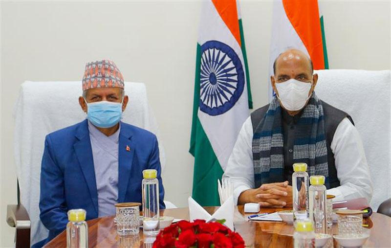 Nepal Foreign Minister Pradeep Kumar Gyawali meets Indian Defence Minister Rajnath Singh