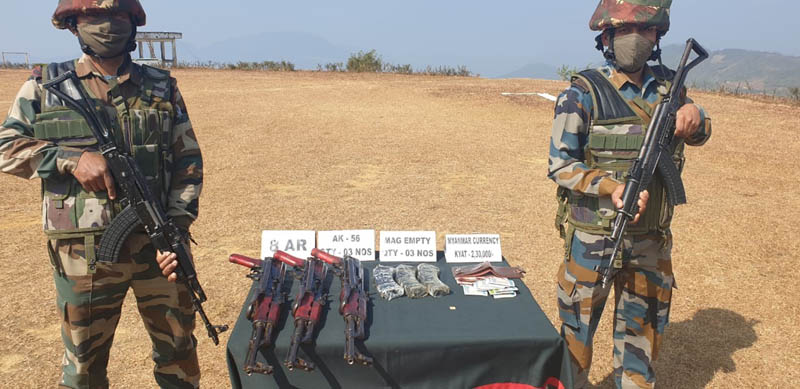Assam Rifles recover three AK-56 rifles, 2.30 lakh Myanmar currency notes in Mizoram