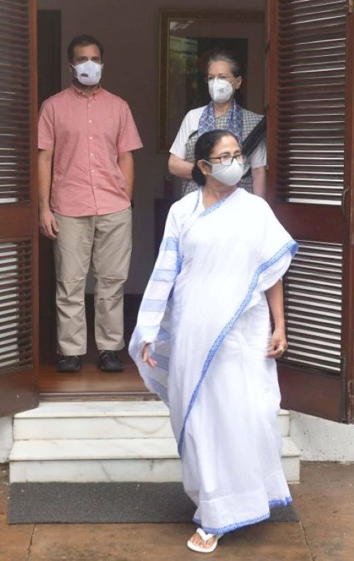 Mamata Banerjee after meeting with Sonia Gandhi and Rahul Gandhi (Image Credit: UNI)