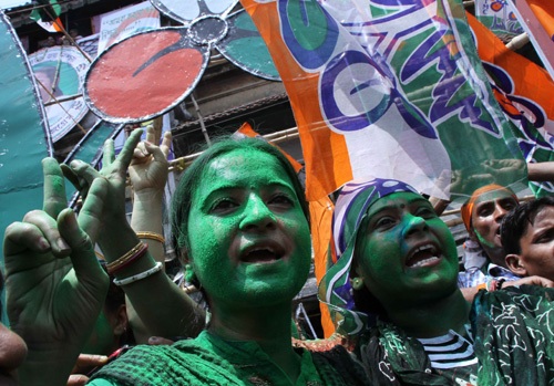 TMC supporters celebrate victory