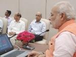 Narendra Modi explaining at the launch of