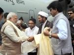 Shri Narendra Modi arrives at Kargil Airport