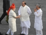 Narendra Modi unfurling the Tricolour flag at the ramparts of Red Fort
