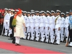 Narendra Modi inspecting the Guard of Honour at Red Fort