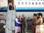 Modi being received on his arrival, at Nausori International Airport