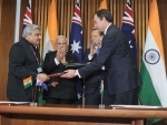 Narendra Modi being warmly received by the Prime Minister of Australia