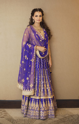 Dia Mirza poses at her Sangeet Ceremony