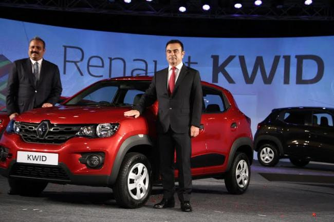 Carlos Ghosn attends Global Unveiling of Renault Compact Car 'KWID' in India