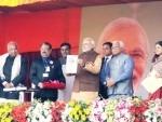 Modi launching Beti Bachao Beti Padhao Logo at Panipat