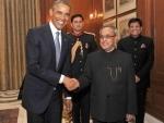 Barack Obama calls on Pranab Mukherjee