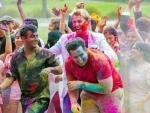 Australian cricketer Brett Lee celebrates Holi
