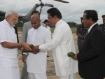 Modi received by the dignitaries, at Anuradhapura helipad, Colombo, in Sri Lanka