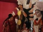 Women smear each other with sindoor on Vijaya Dasami