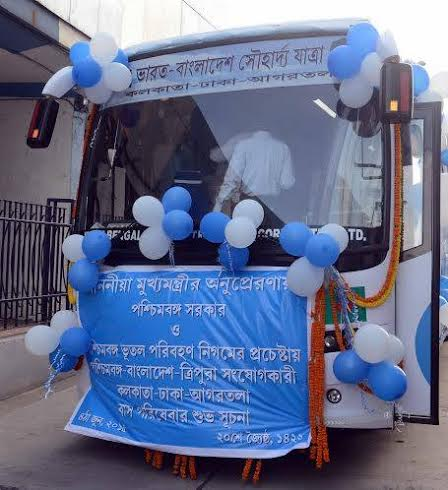 Mamata Banerjee flags off Kolkata-Dhaka-Agartala bus service