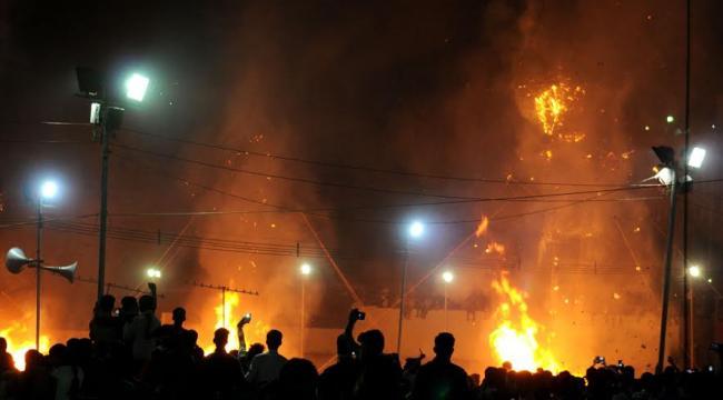 Ravana effigy in flames at Dussehra