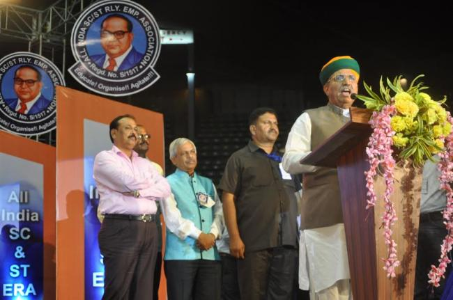 Union Minister of State Railways Rajen Gohain addressing the Central Annual Convention & General Body Meeting