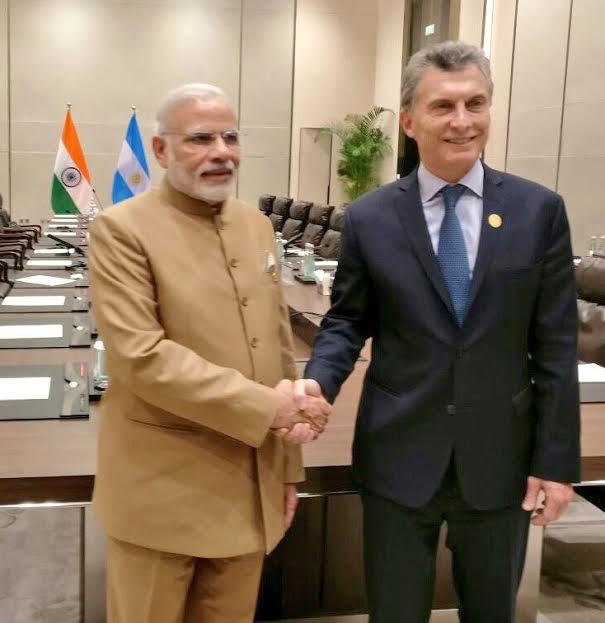 Narendra Modi meeting the Prime Minister of United Kingdom