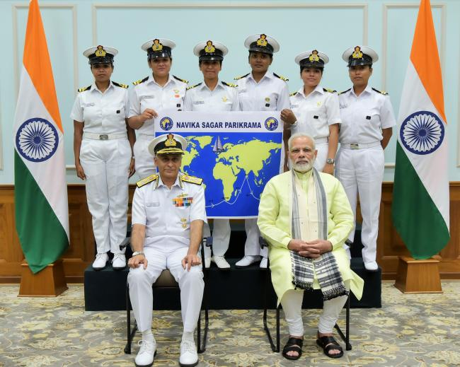 PM Modi meets Indian Navy women officers venturing to sail around the world