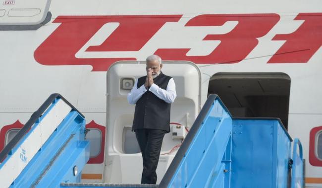 Narendra Modi arrives at Amsterdam