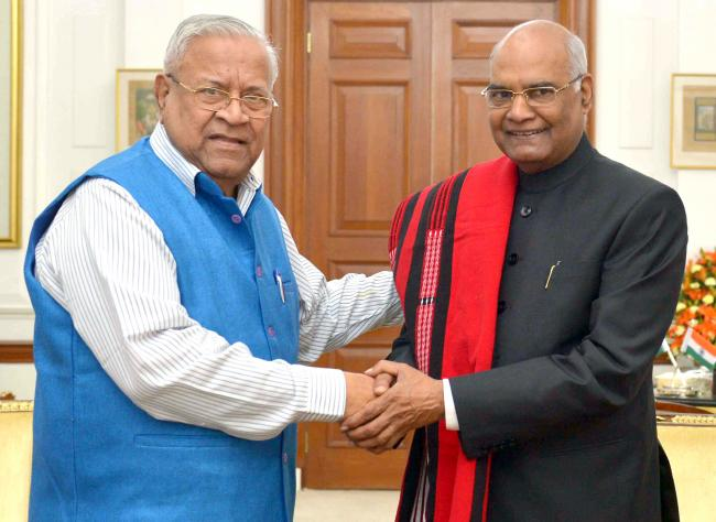 P.B. Acharya calling on the President