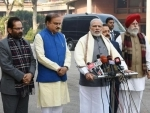 Narendra Modi delivering his statement to media ahead of Budget Session of Parliament
