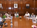 Rajnath Singh chairing a meeting, to review development projects in Jammu and Kashmir