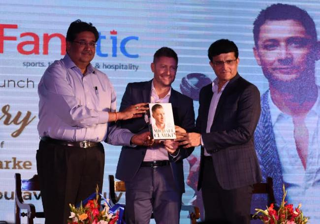 Sourav Ganguly unveils Michael Clarke's autobiography 'My Story' in Kolkata