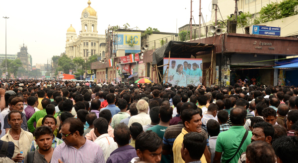 TMC workers throng Kolkata's Esplanade area to observer 21 July Martyrs Day