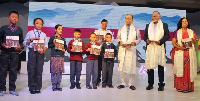 Arun Jaitley addressing at the launch of the Axis Bank CSR project