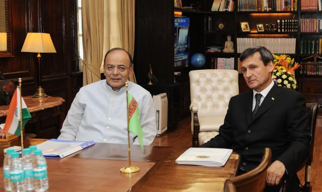 Arun Jaitley meeting the Deputy Prime Minister and Minister of Foreign Affairs of Turkmenistan, Mr. Rashid O. Meredov