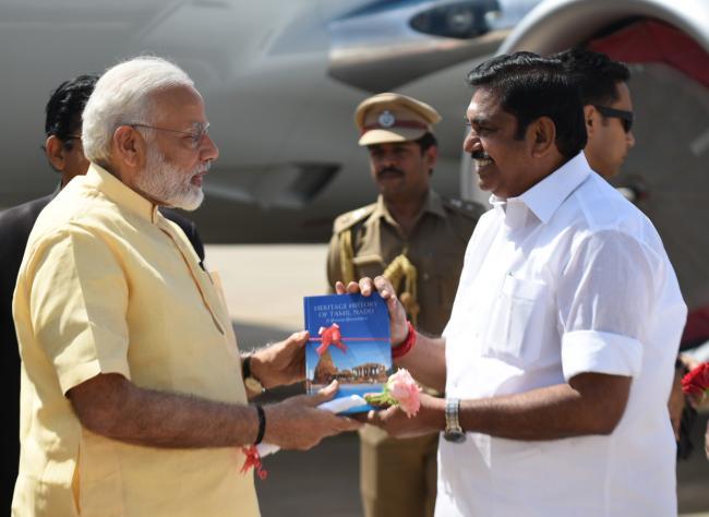 Narendra Modi arrives at Madurai